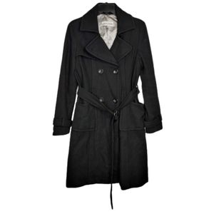 Steve Madden Double Breasted Black Wool Trenchcoat